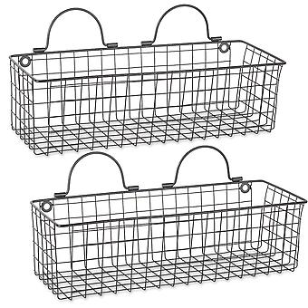 Dii alambre cesta de pared (conjunto de 2) negro medio