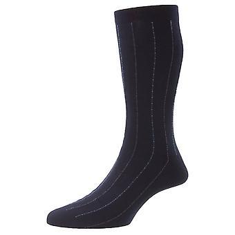 Pantherella Pelham Cotton Fil D'Ecosse Pinstripe Socks - Marinha