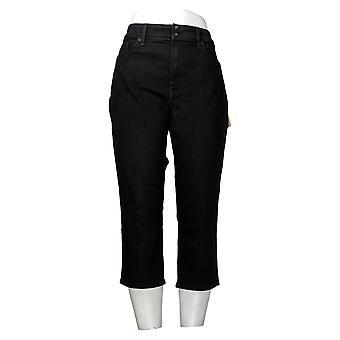 NYDJ Women's Petite Jeans Cool Embrace Skinny Crop Side Slits Black A377694