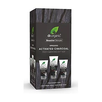Activated Charcoal Facial Cleanser Set Facial Scrub 125ml + Facial Cleanser 200ml + Facial Mask 125ml 1 unit