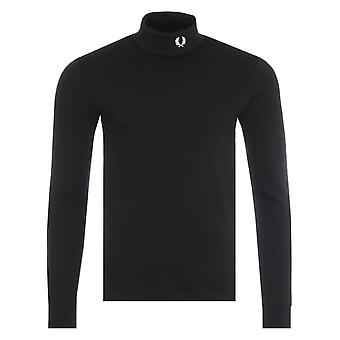 Fred Perry Roll Neck Long Sleeve Top - Black