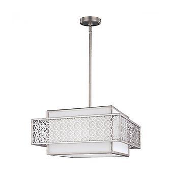 Lámpara Colgante Kenney, Lienzo Blanco Y Marco Gris Dorado, 3 Luces