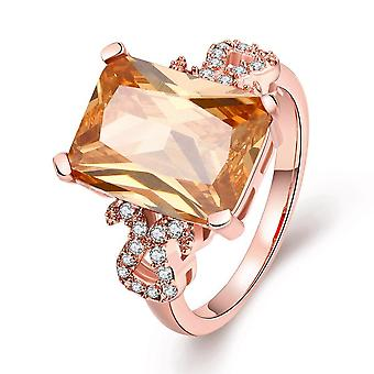 18k Rose Gold Plated Marceline Morganite Crystal Ring Made With