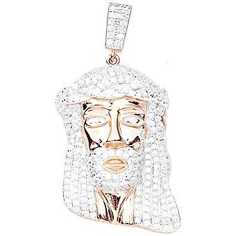 Премиум Bling - 925 стерлингового серебра ИИСУСА Кулон розовое золото