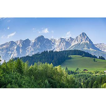 View of Fritzerkogel mountain peak from near Nischofshofen, Upper Austria. Large Framed Photo..