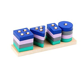 Educational Math Toy Wooden Mini Circles Bead Wire Maze Roller.