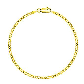 PLANETYS - Silver anklet 925/1000 plated yellow gold 18 carats, width 2 mm, color: yellow, cod. Ref. 3701049592903