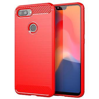 Tpu carbon fiber case voor xiaomi 8 jeugd editie rood mfkj-88