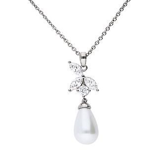 Diamonfire Womens 925 Sterling Silver Rhodium, Palladium & Platinum Plated Clear Cubic Zirconia & Pearl Drop Leaf Design Halsband av längd 40cm - 45cm