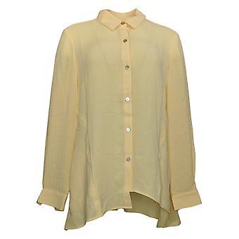LOGO by Lori Goldstein Women's Top Textured Woven Blouse Yellow A376998