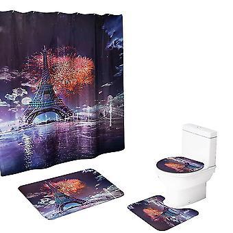 El juego de cortinas de ducha de la Torre Eiffel de 4 piezas incluye alfombrillas, alfombrillas en forma de U, cojines para inodoros, etc.