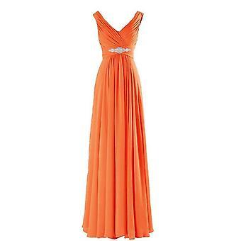 A-line V Neck Off Shoulder Diamonds Floor Length Bridesmaid Dresses
