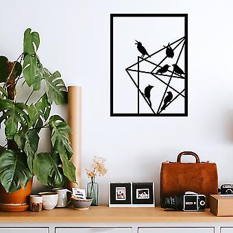 Oiseaux Noir Décoratif Métal Accessoire Mural