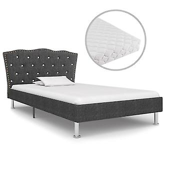 vidaXL bed with mattress dark grey fabric 90 x 200 cm