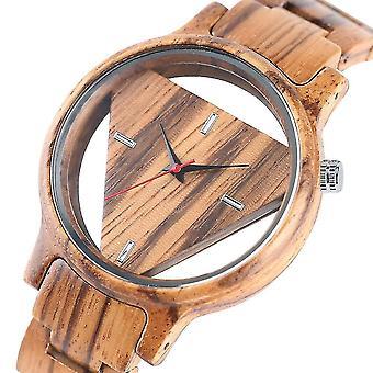 Deffrun Transparent Creative Wooden Wrist Watch Unique Design Men Quartz Watch