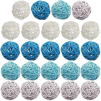 Rattan Ball, 24pcs 2 Inch Wicker Ball Decorative Ball Orbs Vase Fillers(Style 1)