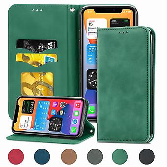 Case For Iphone 11 Pro Max Magnetic Closure Leather Wallet Cover Housse Etui Shockproof - Green
