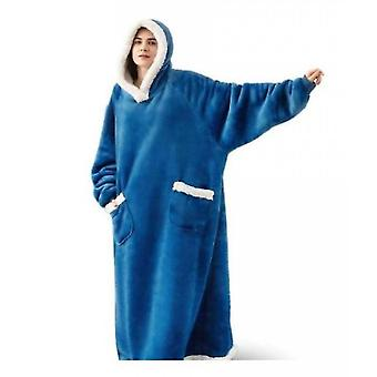 Vertical Pocket Stand Collar Hooded Lazy Blanket Flannel Lamb Couple Pajamas(Blue)