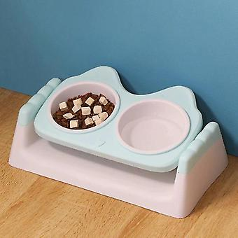 Pet Cat Bowl With Raised Stand Non Slip Dual Use Double Bowls For Dog Cat Eating Feeder Drinking(M)