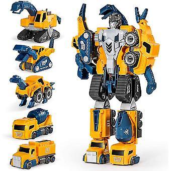 Robot Construction Vehicles Set  5pcs Transforming Robots For Kids