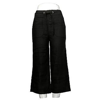 denim &co. kvinners bukser (XXS) naturals lin blanding beskjære svart a377306
