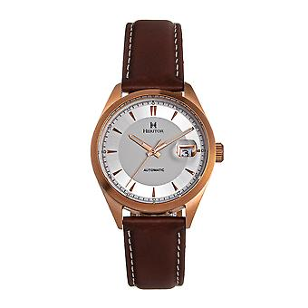 Heritor Automatic Ashton Leather-Band Watch w/Date - White/Rose Gold