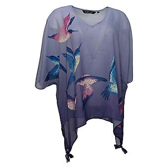 Colleen Lopez Women's Top Printed Poncho Sheer Woven Purple 739352