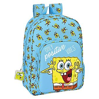 School Bag Spongebob Positive Vibes Yellow Light Blue