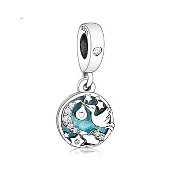 925 Silver Stork & Twinkling Stars Dangle Charm Fit Original Pandora Charms Bracelet Dangle