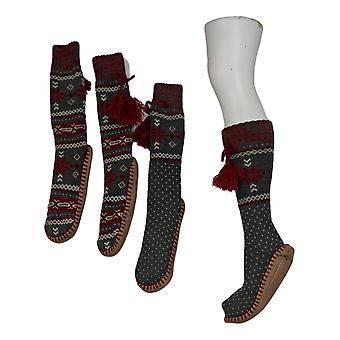 Muk Luks Women's 2 Pack Printed Slipper Sox Gray Socks 673631