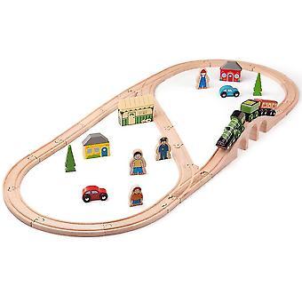 おもちゃの列車は、大きなジグ鉄道遺産コレクションを飛ぶスコットランドの列車セットを設定 - 40プレイピース