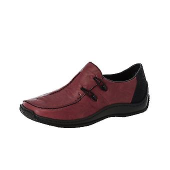Rieker L1751-35 Casual Slip On Leather Shoes In Wine