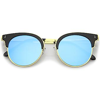 Modern Half Frame Round Colored Mirror Flat Lens Horn Rimmed Sunglasses 49mm