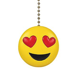 Heart Eyes Smiling Emoji Decorative Ceiling Fan Light Dimensional Pull