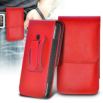 Huawei Y560 Vertical Faux Leather Belt Holster Pouch Cover Case (Red)