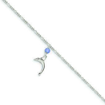 Polierte blaue Quarz Perle baumeln Delphin Figaro Knöchel Frühling Ring Schmuck Geschenke für Frauen - Länge: 9 bis 10
