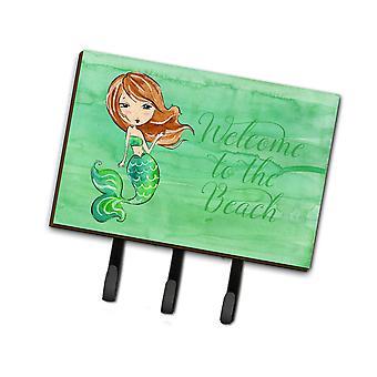 Carolines Schätze BB8515TH68 Meerjungfrau willkommen grüne Leine oder Schlüsselhalter