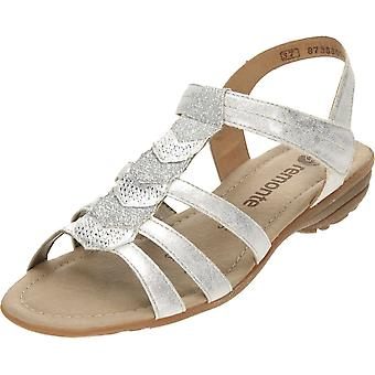 Remonte Silver Strappy Flat Gladiator Glitter T Bar Sandals