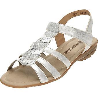 Remonte argent lanières plates Gladiator Glitter T Bar sandales