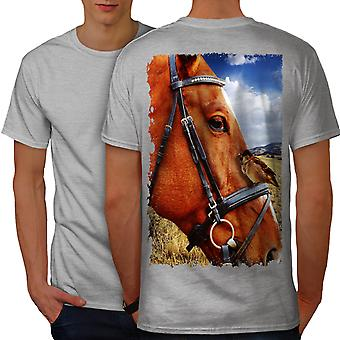 Horse Bird Nature Men GreyT-shirt Back | Wellcoda