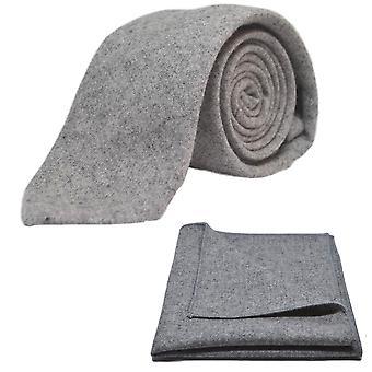 Corbata gris medio stonewashed y conjunto Plaza de bolsillo