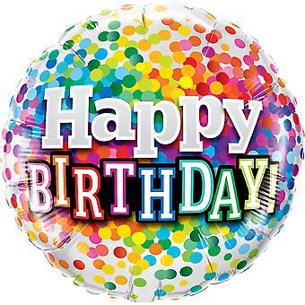 Folienballon Happy Birthday Geburtstag Konfetti circa 45cm