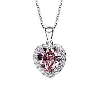 Pendentif Coeur orné de cristaux de Swarovski Rose Clair et Cristaux Blancs 6652