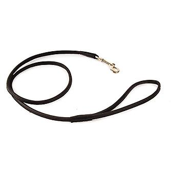 Dapper Dogs Handcrafted Round Leather Dog Lead for Puppy/Dog - 90cm x 8mm, Black