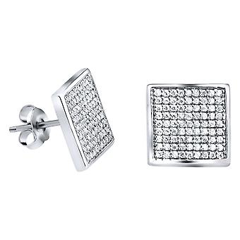 Sterling 925 Silver PAVE earrings - MAGIC 12 mm