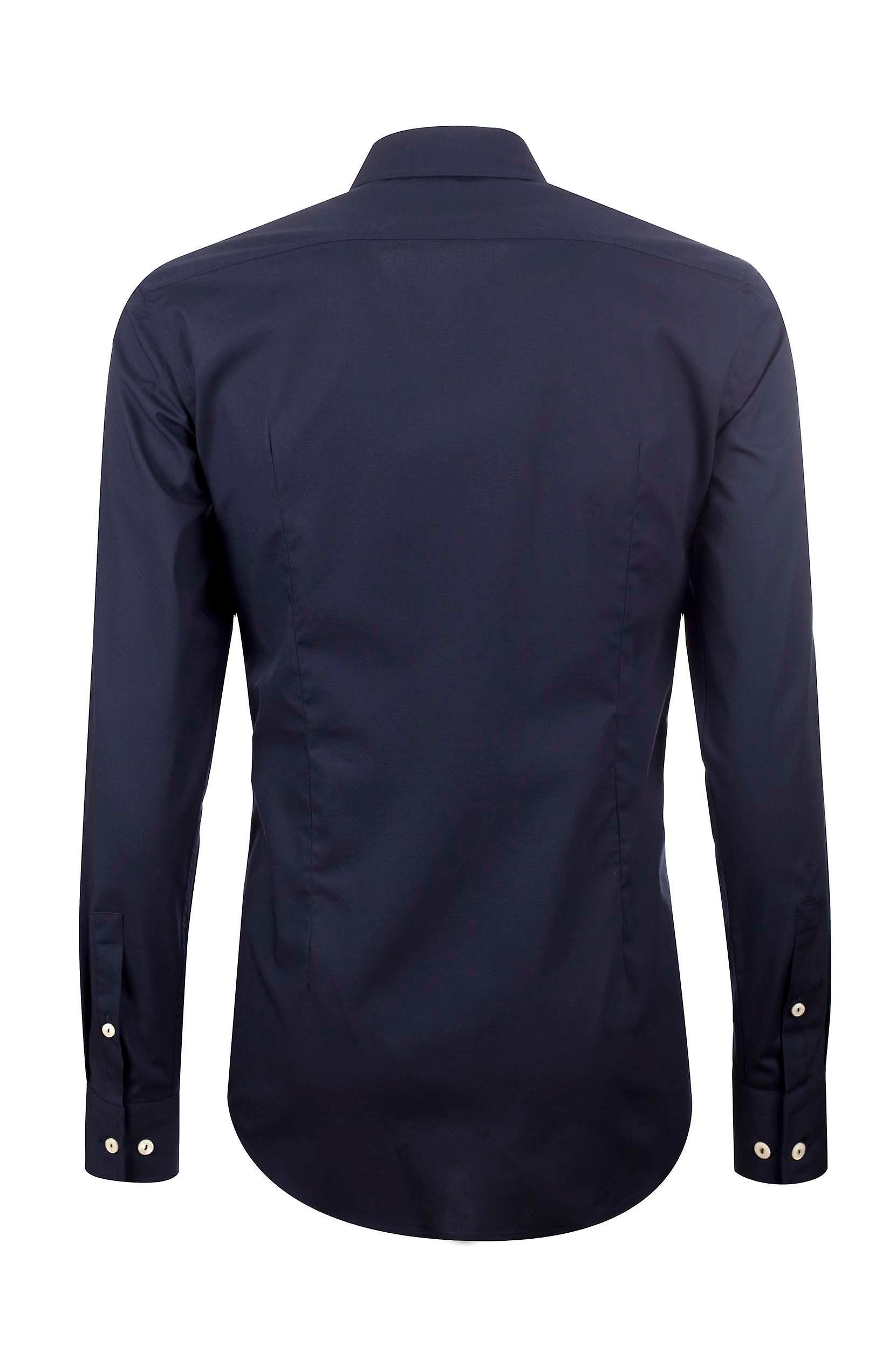Fabio Giovanni Massimo Shirt - Black Stretch Cotton with Soft Collar Italian Shirt