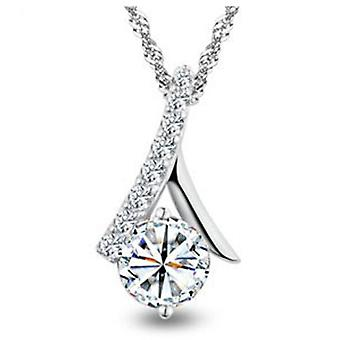 SILVER CROSS YOUR HEART CZ NECKLACE