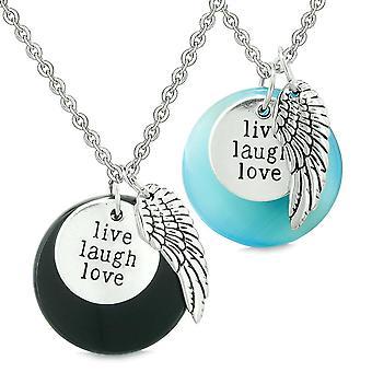 Guardian Angel Wing Live Laugh Love Amulet paren Agate Blue gesimuleerde katten oog kettingen