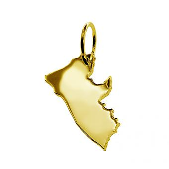 Trailer map LIBERIA pendants in massive 585 gold