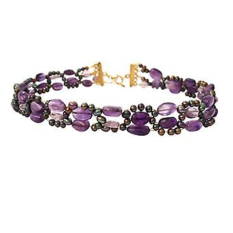 Amethyst and Pearl Necklace gold plated necklace beads explosive